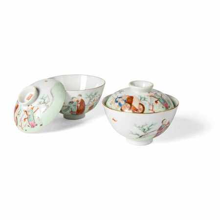 FAMILLE ROSE TEABOWLS AND COVERS QIANLONG MARK BUT 20TH CENTURY