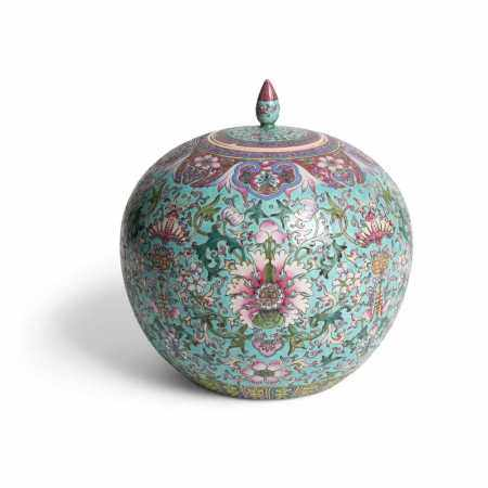 FAMILLE ROSE GINGER JAR WITH COVER QING DYNASTY, 19TH CENTURY