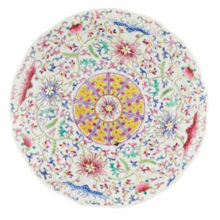 FAMILLE ROSE 'FLORAL' DISH XUANTONG MARK