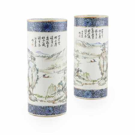 PAIR OF QIANJIANG ENAMELLED CYLINDRICAL VASES QING DYNASTY,  19TH CENTURY