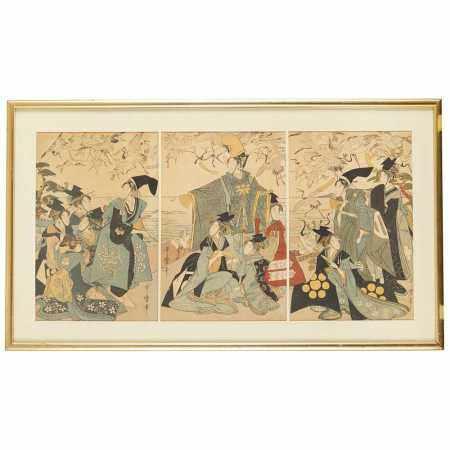 KITAGAWA UTAMARO (1753-1806) WOODBLOCK PRINT TRIPTYCH