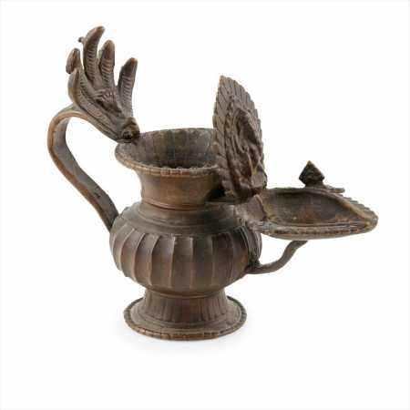 BRONZE SUKUNDA OIL LAMP .NEPAL, 20TH CENTURY