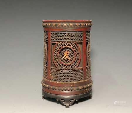 A BAMBOO CARVED BRUSH POT