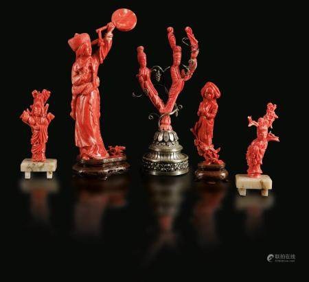 Five coral sculptures, China, Qing Dynasty, 1800s