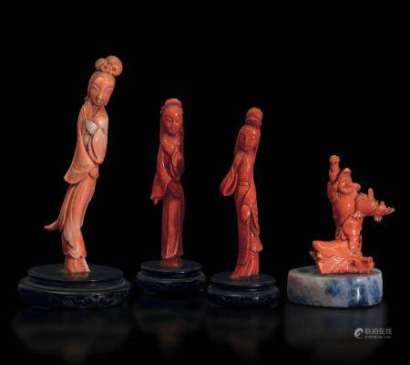 Four coral figures, China, early 1900s