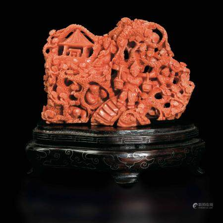 A group carved in coral, China, early 1900s