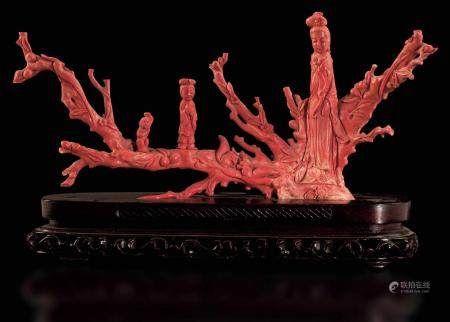 A branch with figures in coral, China, early 1900s