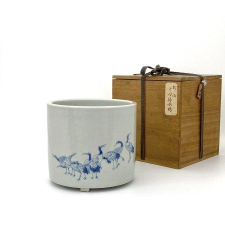 「大清嘉慶二十二年製」款 青花 鶴図 三足缸