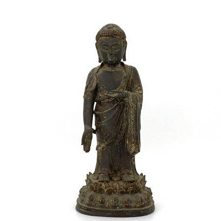 明 銅漆彩 釋迦牟尼立像