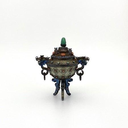 十九世紀 玉包銀絲局部琺瑯嵌百寶 龍耳爐
