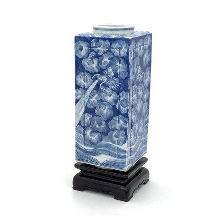 清 「道光年製」青花 雲龍図 方瓶