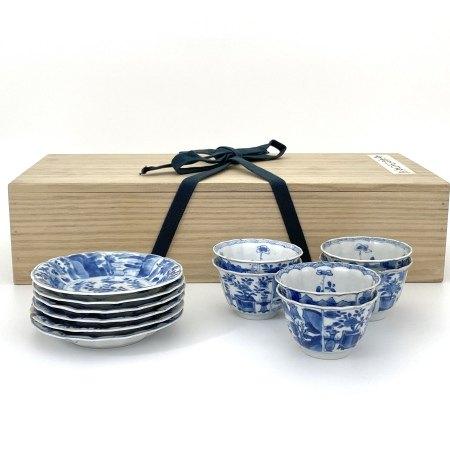 清康煕 青花 山水図 碗/盤 一套