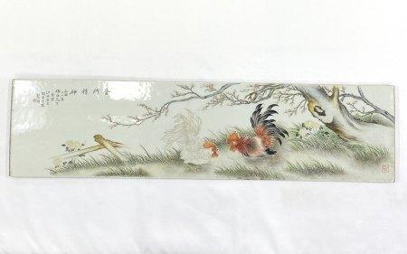 「民国二十年~」款 粉彩 鶏紋 長方陶板