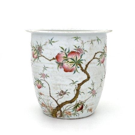 清 粉彩 桃紋 缸