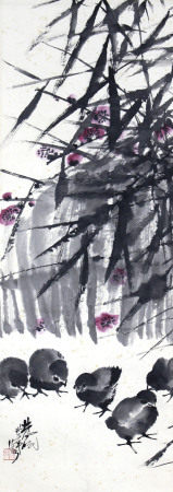 林风眠 竹荫群鸡