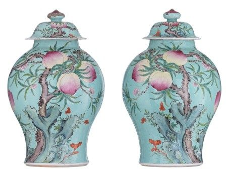 A pair of turquoise ground covered vases, famille rose decorated with the nine p