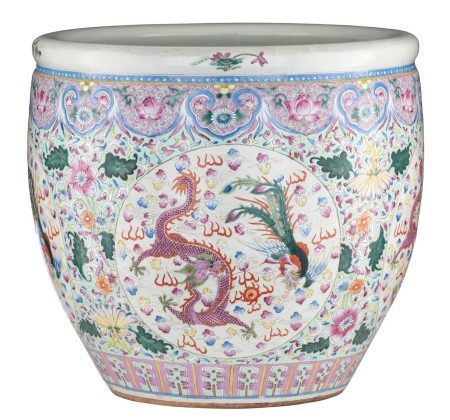 A large Chinese famille rose floral decorated jardinière, the roundels with a ph