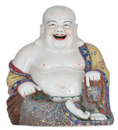 A large Chinese famille rose seated smiling Budai, all over decorated with auspi