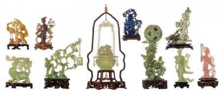 A collection of ten Chinese jade, pink quartz, smokey quartz, purple quartz and