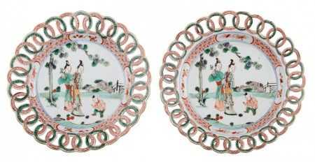 A pair of Chinese Kangxi period famille verte 'Ring' dishes, with reticulated ri