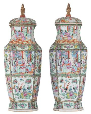 A pair of Chinese Canton famille rose lantern-shaped vases, decorated with flowe