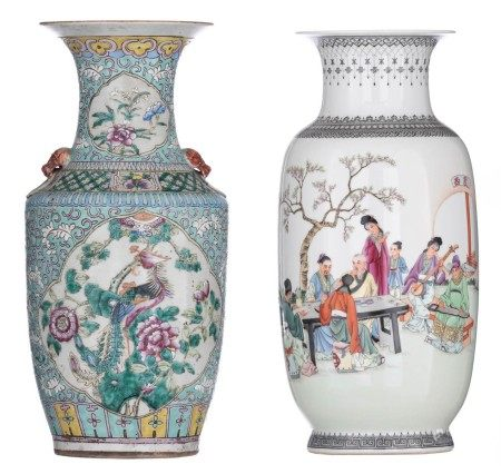 A Chinese Republic period polychrome vase, decorated with literati and musicians