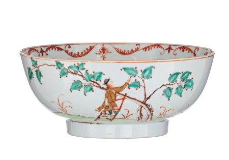 A Chinese famille rose and gilt decorated 'European Subject' punch bowl, depicti