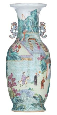 A Chinese famille rose and turquoise glazed vase, decorated with figures in an a