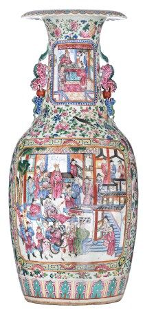 A large Chinese famille rose vase, decorated with flowers, birds and fruits, the