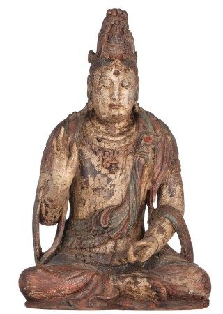 A polychrome paint wooden seated Guanyin in a 'lotus' posture, H 75 - W 45 - D 4