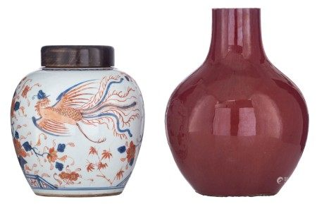 A Chinese sang de boeuf bottle vase, with bronze mounts; added a Chinese Imari f
