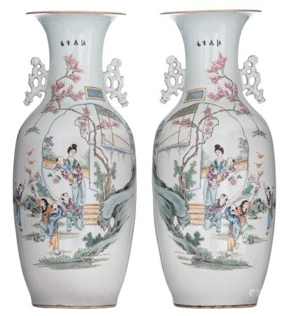 A pair of Chinese Qianjiang cai vases with double decoration, the body to one si