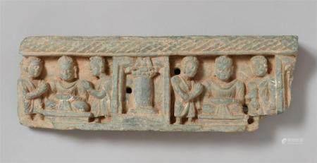 A Gandhara greenish stone architectural frieze fragment. Pakistan. 2nd/4th century