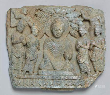 A Gandhara silvery schist architectural fragment. Pakistan. Probably 2nd/3rd century