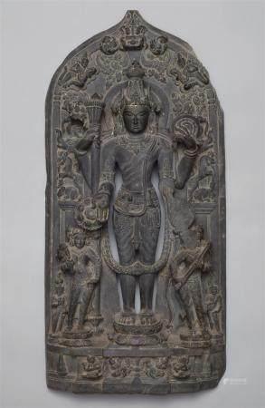 A Pala black stone stele of Vishnu. Northeastern India, Bengal. 12th century