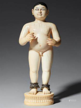 A rare exceptionally large Rajasthani ivory figure of Krishna as a boy. 19th century