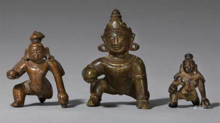 Three South Indian copper alloy figures of Balakrishna. Tamil Nadu. 18th/19th century