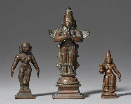 Three small South Indian copper alloy figures. Probably 19th century
