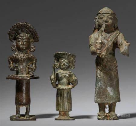 Three copper alloy Bhuta figures. Southern India, Karnataka, Tulu. 19th century