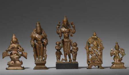 Five Central and South Indian copper alloy figures and altars. 17th/19th century