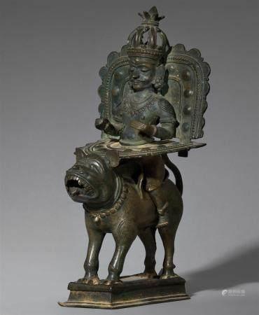 A copper alloy Bhuta figure of Pilichandi. Southern India, Northern Kerala, Malabar region. 17th/18th century