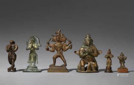 Six predominantly Maharashtra copper alloy figures of Hanuman and Garuda. 18th/19th century