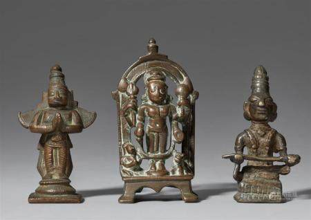 Three Indian small copper alloy figures.