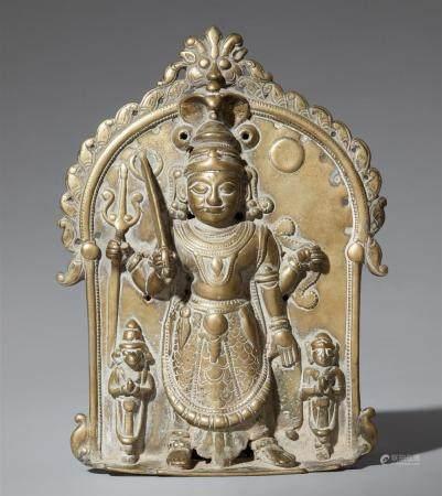 A Maharashtra/Karnataka brass placque. 19th/20th century