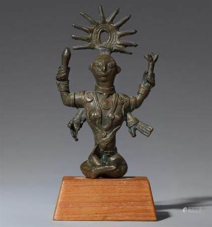 A Bihar copper alloy figure of a female deity. Eastern India. 19th century