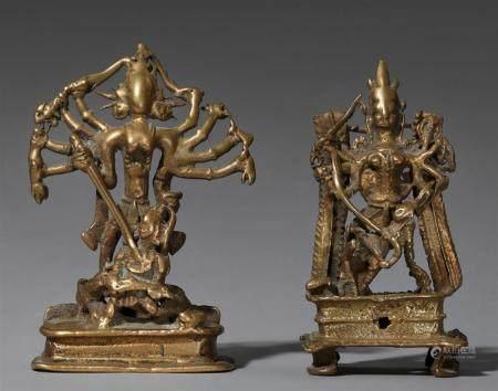 Two Indian brass figures of Mahishasuramardini.