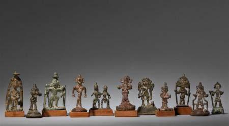 Eleven small copper alloy folk bronzes. Central india. 19th/20th century