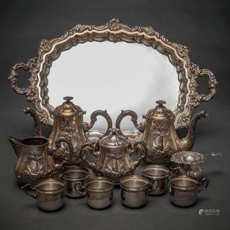 Service à café et à thé en argent espagnol et poinçonné. Siglo XX3.449 Kg.Composé par : Plateau