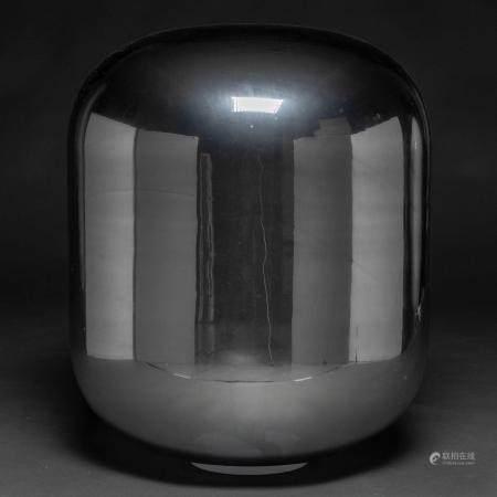Lampe de table ou de sol en verre de Murano de coul argentée. Œuvre italienne des années 70.