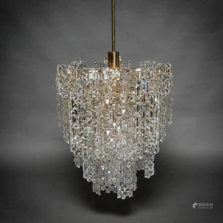 KINKELDEY, Lampe Vintage à neuf lumières en verre et acier chromé en or. Années 60-7066 x 46 cm